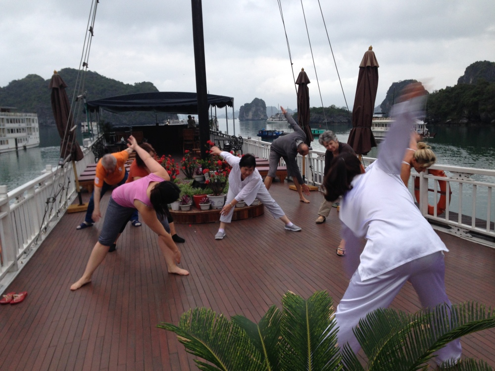 Early morning Tai Chi on Halong Bay Cruise