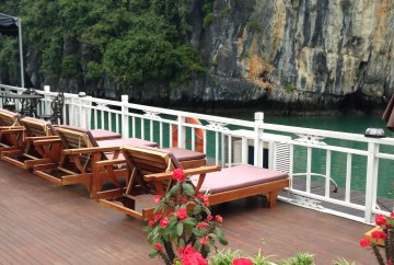 On the top deck Halong Bay Cruise