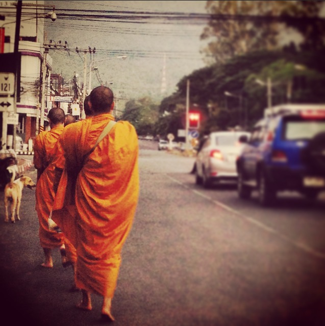 Monks heading back to the temple